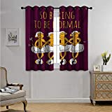AnimalDrapesforLivingRoomFunny Ballerina Dancing Monkeys with So Boring to Be Normal Quote Print Blackout Drapes W55 x L72(140cm x 183cm) Maroon and Marigold