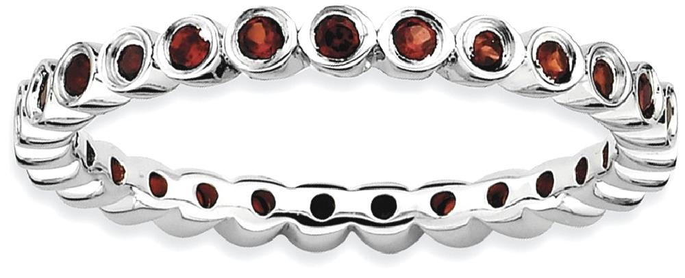 ICE CARATS 925 Sterling Silver Red Garnet Band Ring Size 8.00 Stone Stackable Gemstone Birthstone January Fine Jewelry Gift Set For Women Heart