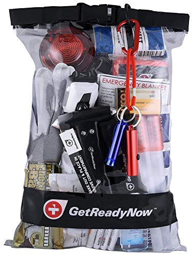 GETREADYNOW 2+ Person Deluxe Car Emergency Kit Earthquake & Disaster Survival Supplies | Compact, Convenient Design | Waterproof Dry Bag with Light, First Aid, Emergency Essentials