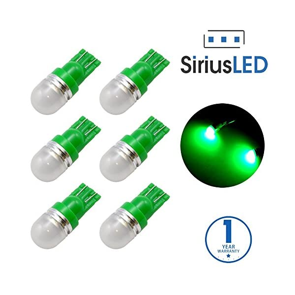 SiriusLED Super Bright 1W 360 Degree Projector LED Bulbs For Interior Car Lights Gauge Instrument Panel License Plate Dome Map Side Marker Courtesy T10 168 194 2825 W5W Amber Yellow Pack Of 6