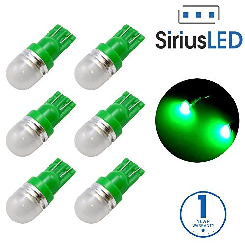 SiriusLED Super Bright 1W 360 Degree Projector LED Bulbs for Interior Car Lights Gauge Instrument Panel License Plate Dome Map Side Marker Courtesy T10 168 194 2825 W5W Green Pack of 6 (Honda Green Car)