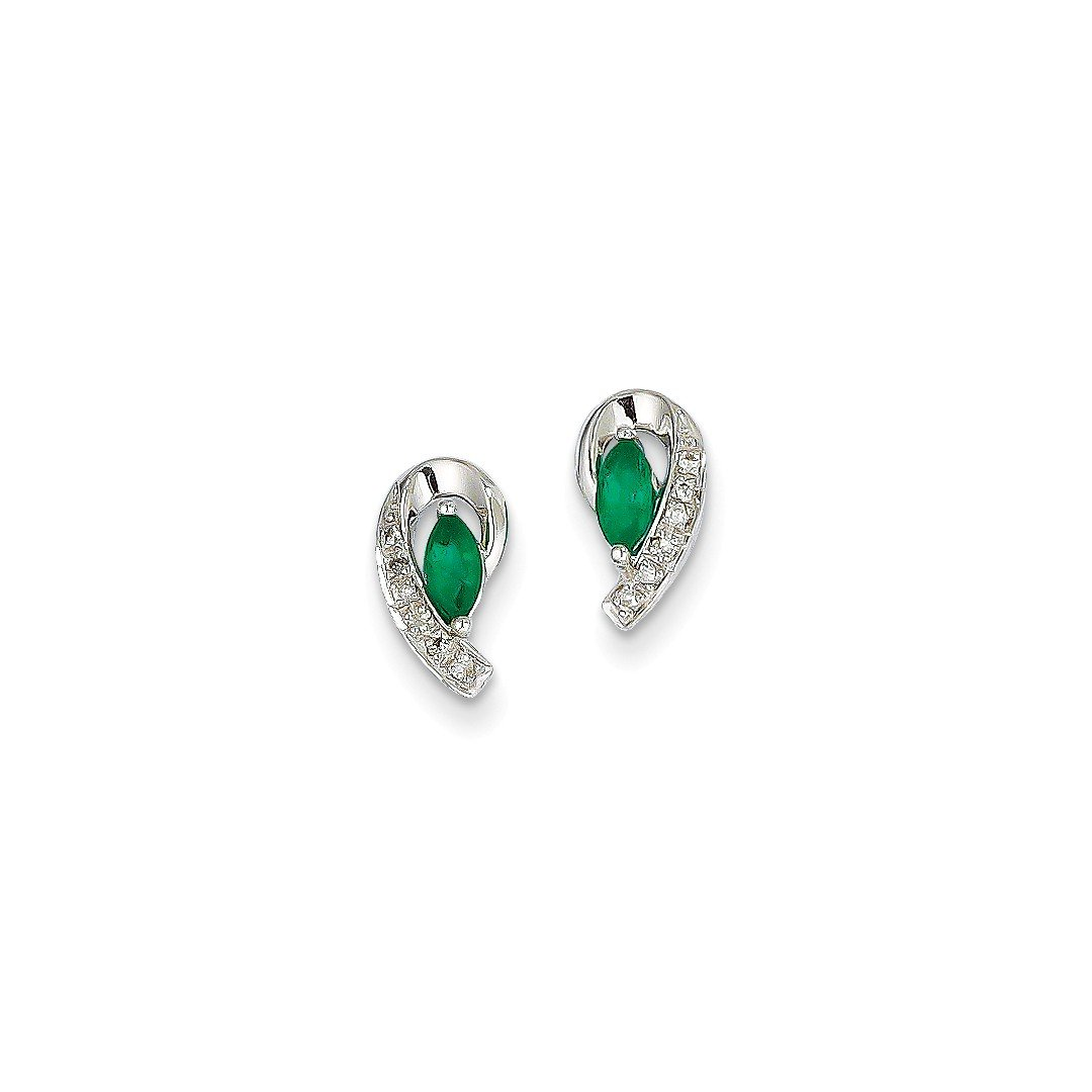 ICE CARATS 14k White Gold 1/20ct Diamond Green Emerald Post Stud Ball Button Earrings Fine Jewelry Gift Set For Women Heart