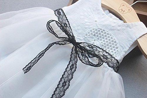 Neugeborenes Baby Mädchen Knopf Bowknot Spitze Net Garn Prinzessin Tutu Kleid White