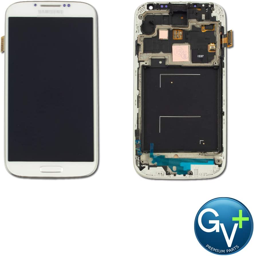 Group Vertical Replacement AMOLED Touch Screen Digitizer Frame Display Assembly Compatible with Samsung Galaxy S4 (Frost) (I9500, SGH-i337, M919) (GV+ Performance) 51SayjjGKUL