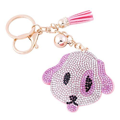 Soleebee Women Girl Tassel Keychain Premium SS6 Crystal Key Chain Glitter Bag Charm (Cute Dog Pink)