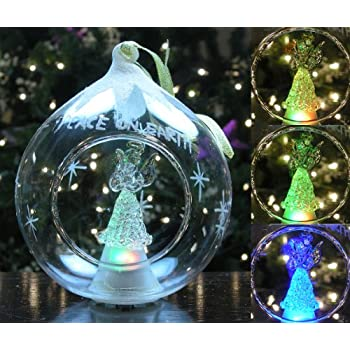 glass christmas ornament led light up ornament glass angel holding dove memorial ornament