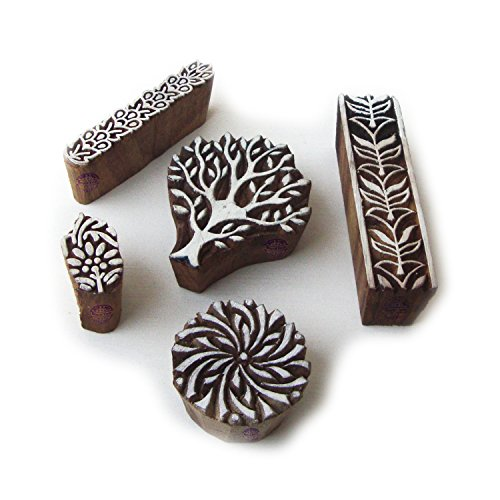 Hand Carved Tree and Border Designs Wooden Block Stamps (Set of 5) ()