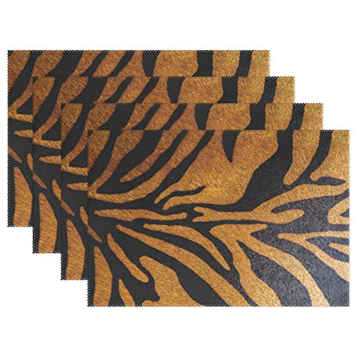 TropicalLife Placemat Animal Tiger Leopard Print Washable Place Table Mat Resistant Home Kitchen Dining Table Decoration Set of ()