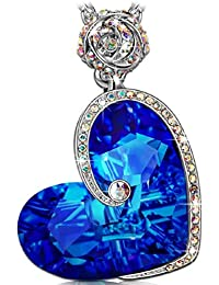 Rose Heart Necklace with Bermuda Blue Crystals from...
