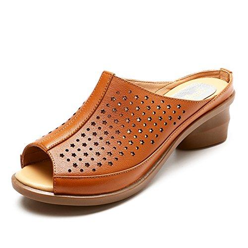 Y De Tacón Pantofola Caqui Viejo 250 5 Medio Hembra PENGFEI 4 Color Colores EU40 Tamaño Hueco Mediana Zapatillas Zapatos De Más Edad Grueso US8 Caqui Verano Talón UK6 nwR6685axP