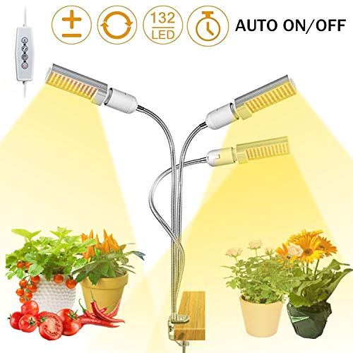 LED Grow Light for Indoor Plant,68W 132 LED Timing Grow Lamp Auto On/Off with 3/6/12H Timer 5 Dimmable Levels 3 Switch Modes Adjustable Gooseneck(68W 3 Heads Light) (Grow Indoor Plants)