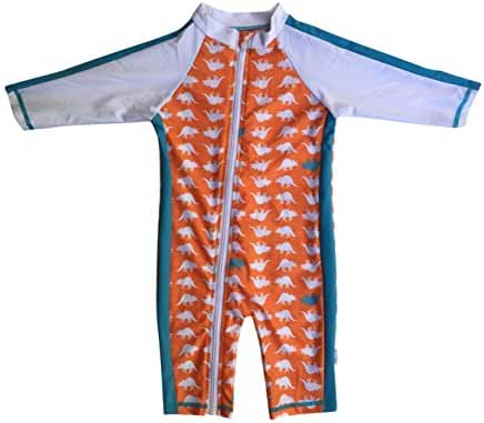 SwimZip® Little Boy Long Sleeve Sunsuit with UPF 50 Sun Protection Zip