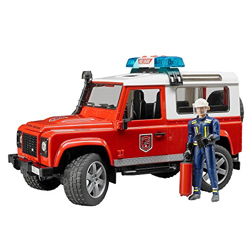 Bruder Land Rover Fire Department Vehicle with Fireman