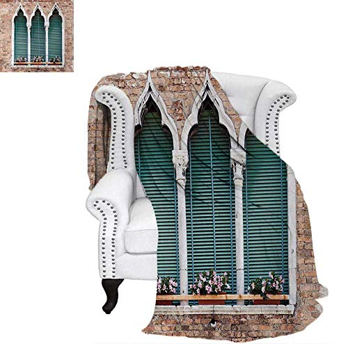 Throw Blanket Traditional Ancient Gothic Style Windows with Flower Pots on Brick Wall Warm Microfiber All Season Blanket for Bed or Couch 60