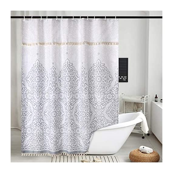 Uphome Tassel Shower Curtain Gray Damask Print Floral Fabric Shower Curtain with Fringe Trims Vintage Boho Chic Bathroom Decor Waterproof and Heavy Duty, 72 x 72 - [Uphome unique designed] 2 rows Tassels ! Its the little details that we loved most. Elegant Damask print bathroom shower curtains made of 100% Polyester fabric adds extra rust-resistant metal grommets and 12 high-quality plastic hooks Without the ROD, can blend with any existing home decor. [Function] Waterproof and heavy-duty,160 GSM,can be used as shower curtain alone, when you take shower the curtain which can prevent it from fluttering, splashing. [Care Instructions] Machine washable in cold water with mild detergent and hang to dry. It could be better cleaned with a quick rinse or wipe after a shower, Low iron; Don't bleach or tumble dry. The Color will stay nice and vibrant for years. - shower-curtains, bathroom-linens, bathroom - 51Sazjk9QNL. SS570  -