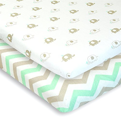 Best Buy! Cuddly Cubs Pack n Play Playard Sheets - Set of 2 Jersey Cotton Fitted Sheets for Mini/Por...