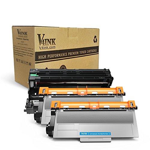 V4INK (1 Drum + 2 Toner) New Compatible Brother DR720 Drum Unit And TN750 Toner Cartridges With Brother HL-5400 HL-6100 DCP-8110 Series Toner Printers