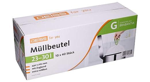 Bolsas de basura DEISS 23-30 litros para Brabantia Touch Bin ...