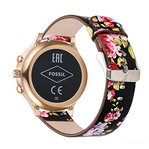 YOOSIDE for Fossil Q Venture Watch Band, 18mm Quick Release Leather Watch Band Strap for Fossil Q Venture Gen 3/Gen 4/HR Gen 4,Fossil Womens Gen 4 Sport (Black-Flower)