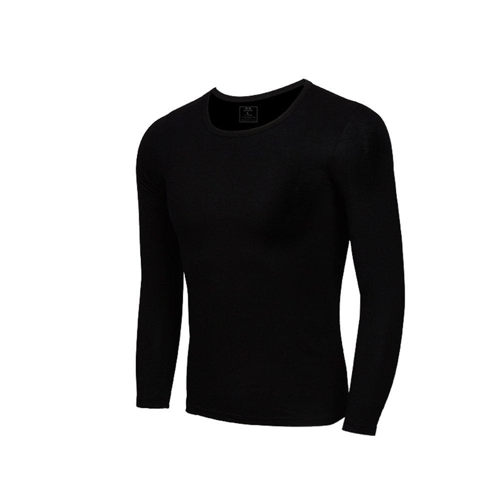 YiLianDa Modale Uomo Colletto Rotondo Top Manica Lunga T Shirt Top Slim Camicetta Solido Scollo Intima Termica