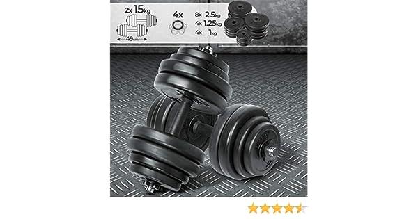 Physionics Juego de 2 Mancuernas de Fitness de 30 kg (2 x 15 kg ...