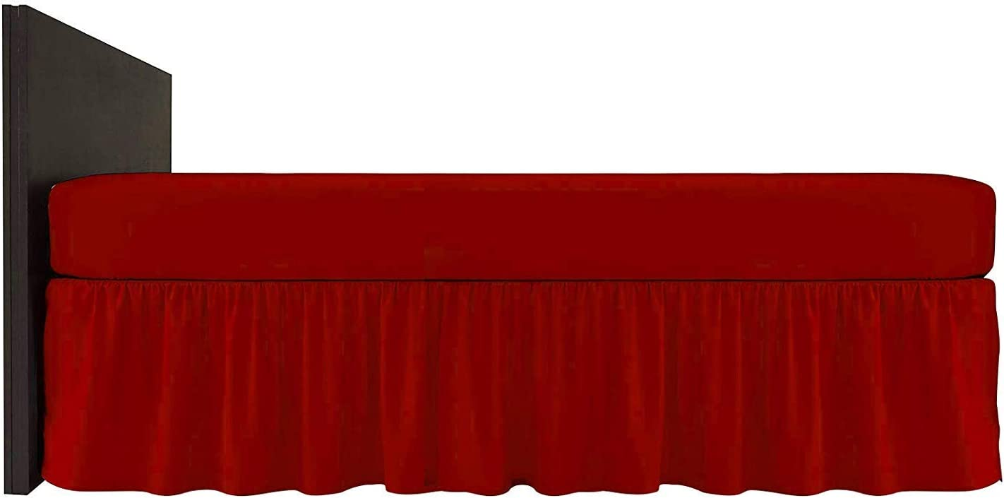 Impero Romano Plain Polycotton Frilled Deep Valance Bed Sheet//Pillow Cases Black, Double