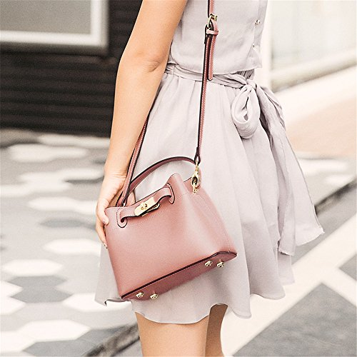 Pink Simple Leisure Red Bag Messenger Wide Shoulder Bucket PU Amyannie Strap Color qUXZPP
