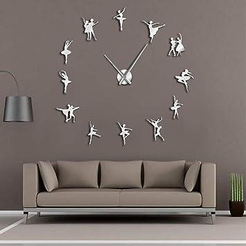 Meaeo Bailarina Wall Art DIY Reloj De Pared Grande Agujas Grandes Bailarina De Ballet Reloj De Pared Dancing Girls Reloj De Reloj De Gran Tamaño,Plata-47 ...