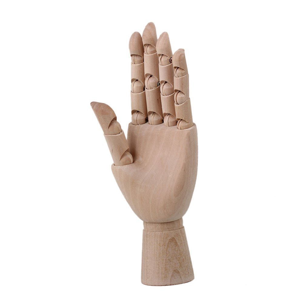 10 inch Left Hand Manikin Wooden Articulated Mannequin Moveable Fingers Crafts Painting Art Supply Sketch Model Doublelife
