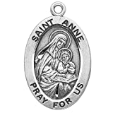 "Sterling Silver Oval Medal Necklace Patron Saint St. Anne with 18"" Chain in Gift Box *Catholic Saint Anne Patron Saint of Christian Mothers, Canada, Housewives, Pregnant Women, Women in Labor, Grandmothers, Equestrians"