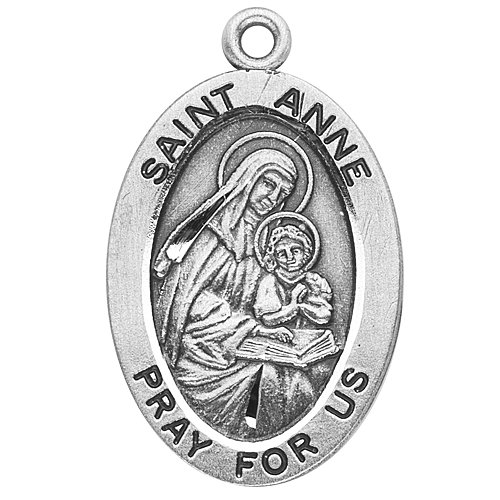 Sterling Silver Oval Medal Necklace Patron Saint St. Anne with 18