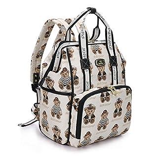 Pipi bear Diaper Bag Backpack Stylish Cartoon Jacquard Baby Travel Back Pack Nappy Bag for Mom (Cream)