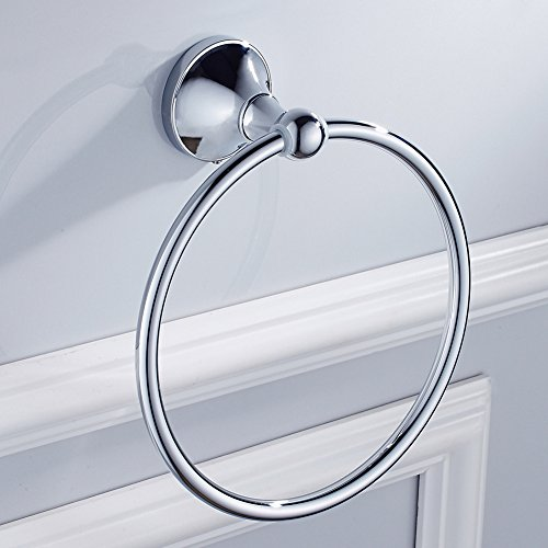 BLISSPORTE Bath Towel Ring Holder By Bathroom Hand Towel Ring Kitchen Antique Brass Round Ring Towel Rack Set Wall Mount Modern Chrome by BLISSPORTE