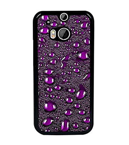 PrintDhaba Purple Drops D-2048 Back Case Cover for HTC