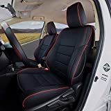 EKR Custom Fit Full Set Car Seat Covers for Select Toyota Highlander 2014 2015 2016 2017 2018 2019 -Three Rows, Leatherette (Black with Red Trim)