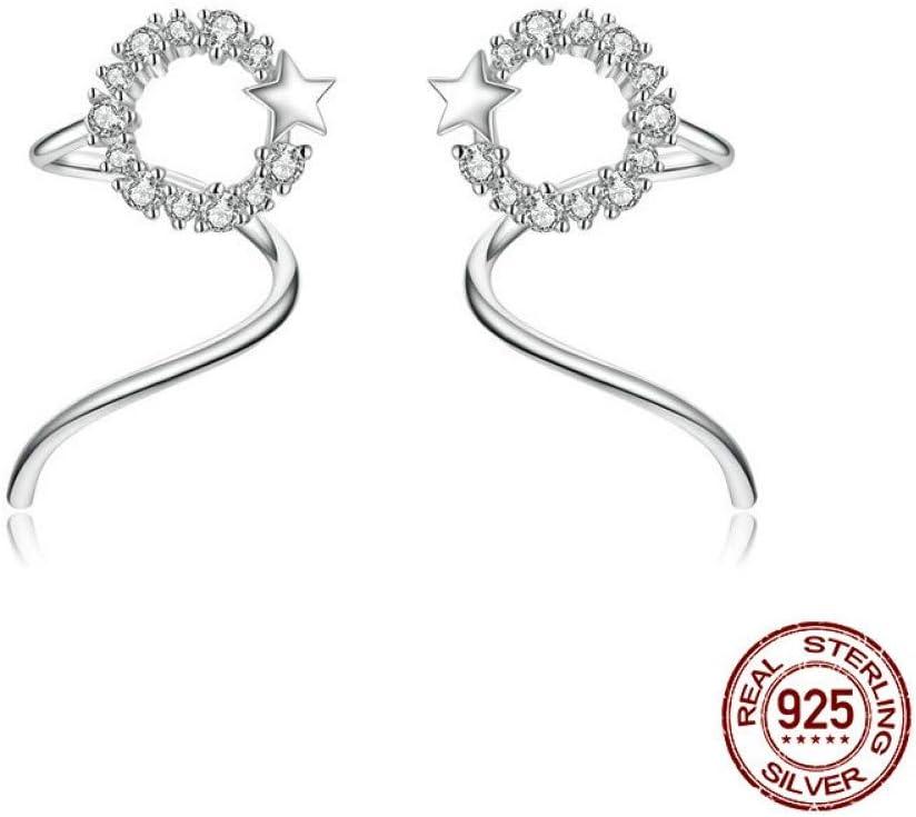 Plata 925 Pendientes Mujer, Aretes Retorcidos Rodeados De Estrellas Circón Brillante Aros De Oreja Simples De Moda Presentes para Amantes, Pendientes De Oreja Estéticos Inusuales Regalo De Joyería