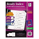 Ready Index Classic Tab Titles, 5-Tab, 1-5, Letter, Black/White, 5/Set, Sold as 5 Each