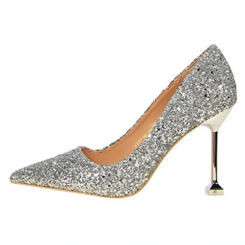 AmoonyFashion Womens Closed-Toe Pull-On Sequins Solid High-Heels Pumps-Shoes Silver 3P2vEqjMf2