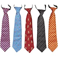 Bundle Monster 5 pc Boys Mixed Pattern Pre-Tied Elastic Fashion Necktie Sets