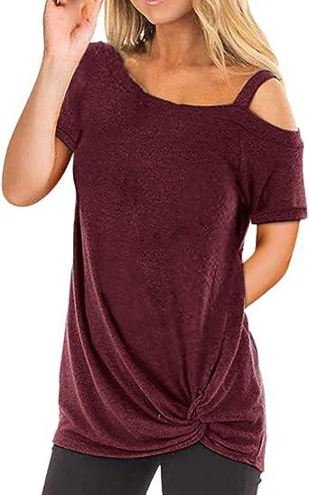 Camisetas Mujer Manga Larga Sexy Ronamick Verano Blusa Blanca Niña Tops Mujer Deporte Verano Camisa Cuadros Mujer (Vino,XXL): Amazon.es: Iluminación