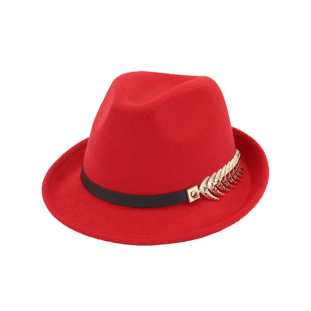 Zedo Unisex Leaves Metal Buckle Jazz Hat Top Hat Sun Visor Hat Fedora Hats Wide Brimmed Hat Outdoor
