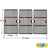 bbq factory JGX763 Replacement Cast Iron Cooking Grid Porcelain coated Set of 3 for Select Gas Grill Models By Charbroil, Kenmore, Master Chef and Others