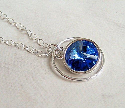 Blue Swarovski Elements Circle Crystal Frame Pendant Necklace Sterling Silver Chain 18
