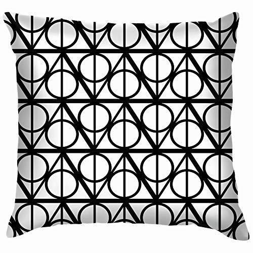 Black White Monochrome Geometric Harry Beauty Fashion Throw Pillows Covers Accent Home Sofa Cushion Cover Pillowcase Gift Decorative 20X20 Inch]()