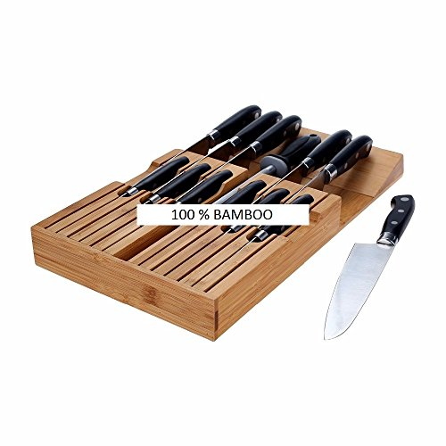 [Vivaware] In-Drawer Knife Block (Bamboo) Holds 12 Steak, Prep, and Chef Knives | Discrete Horizontal Kitchen Storage | Naturally Clean & Hypoallergenic | Home Safety by Vivaware