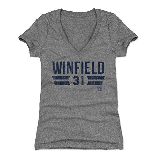 (500 LEVEL Dave Winfield Women's V-Neck Shirt (Medium, Tri Gray) - New York Yankees Shirt for Women - Dave Winfield Font B)