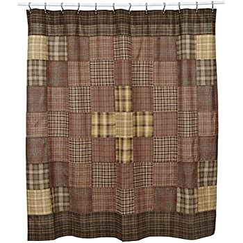 Prescott Patchwork Farmhouse Country Cottage Cotton Bath Shower Curtain
