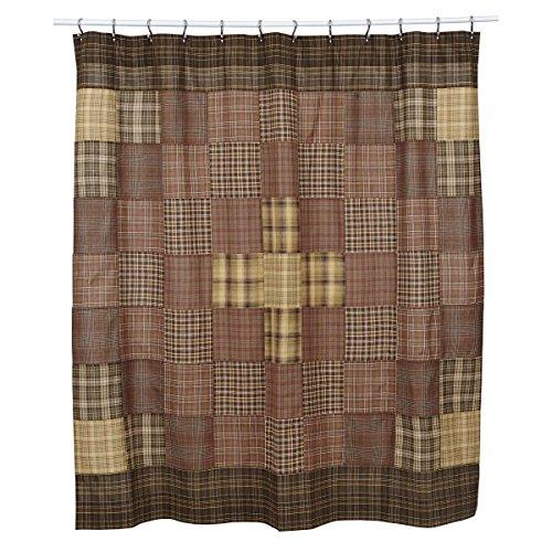 VHC Brands Rustic & Lodge Bath - Prescott Brown Shower Curtain, 72 x 72, (Pattern Quilted Curtain Shower)