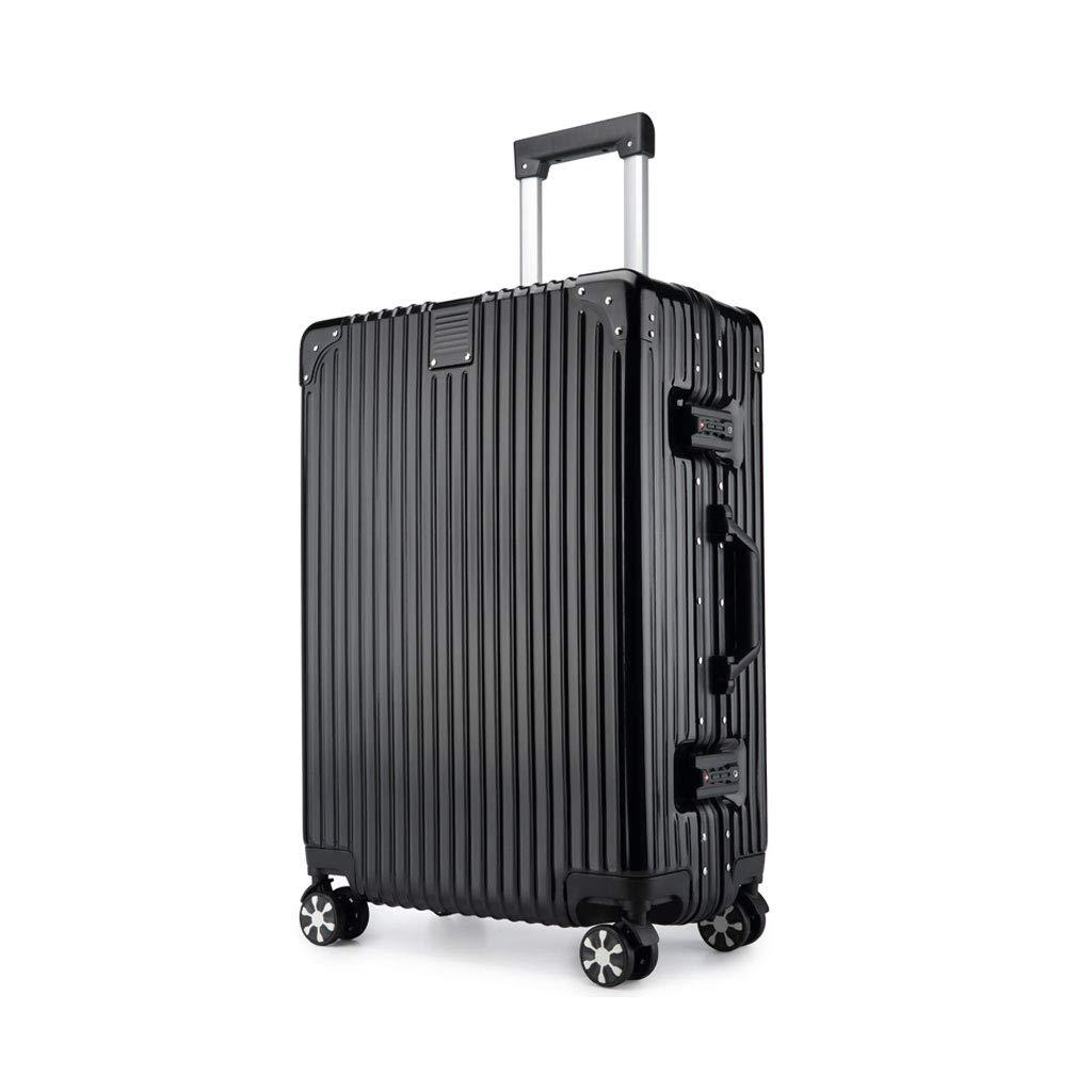 荷物軽量腹筋ハードシェルトロリー旅行スーツケース4輪、腹筋ポリエステル、コンビネーションロック付き、ブラック 22*37.5*60cm  B07MHZ7LKT