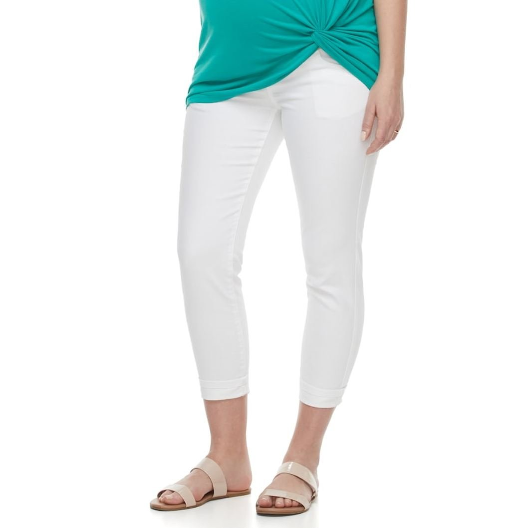 876240c072d30 a:glow Maternity Belly Panel Faded Capri Jeans (Bright White, 6-Mat) at Amazon  Women's Clothing store: